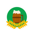 beer barrel glass in wheat emblem vector image