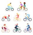 bicycle bikers people character biking vector image