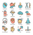 biohacking icons set in colored line style vector image vector image