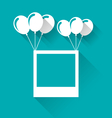 blank photo frame with balloons for your holiday vector image vector image