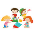 boys and girls folding paper airplane vector image vector image