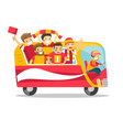 bus full of cheerful football players or fans vector image