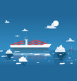 cargo ship transporting containers in arctic vector image