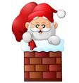 cartoon santa claus in chimney vector image vector image