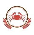 circular border with crown branch with crab vector image vector image