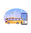 city bus with map application on mobile phone vector image vector image