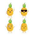 collection pineapple characters vector image vector image