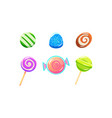 colorful glossy candies and lollipops set sweets vector image vector image
