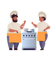 cooks couple professional chefs preparing and vector image vector image