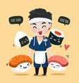 cute firend sushi vector image vector image