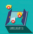 door with set icons cyber security vector image vector image