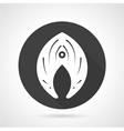 Fish slice black round icon vector image