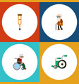 flat icon cripple set of stand ancestor vector image vector image