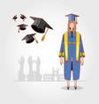 graduate woman avatar character vector image