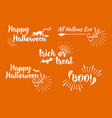 halloween set of greeting card calligraphy vector image vector image