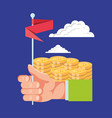hand with coins and flag vector image vector image