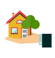 house in hand flat design icon vector image