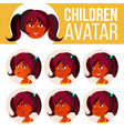 indian girl avatar set kid kindergarten vector image vector image