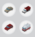 isometric automobile set of auto car freight and vector image vector image