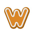 letter w gingerbread peppermint honey-cake font vector image vector image