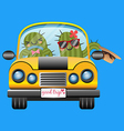 loving couple of cactus driving a yellow car vector image vector image