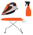 Orange ironing board iron and spray vector image vector image