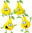 pear cartoon with hand isolated on white vector image vector image