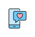phone with heart bubble love chat like vector image