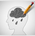 rain cloud in the human head vector image vector image