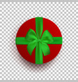 red round box with green ribbon and bow isolated vector image