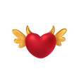 red shiny heart shape with golden wings and horns vector image vector image