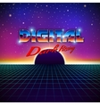 Retro styled futuristic landscape with lettering vector image