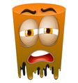 Sad face on orange tube vector image vector image