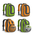 set icons sports backpacks vector image