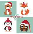 set of christmas characters vector image vector image