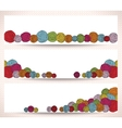 Set of horizontal banners with yarn balls vector image vector image