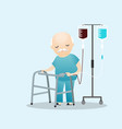 sick old man standing with intravenous dropper vector image vector image