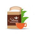 stevia natural sweetener packet and leaves vector image vector image