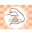 strong man hand with big burger icon on b vector image vector image