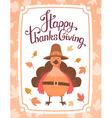 thanksgiving with orange turkey bird in brow vector image vector image