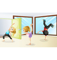 Three kids stretching and dancing vector image vector image