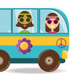 van with flower and hippie people concept vector image vector image