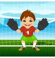 Young goalkeeper boy in a ready position vector image vector image