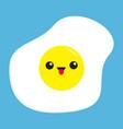 fried egg icon cute cartoon character funny emoji vector image