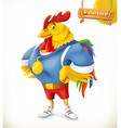 Rooster Animal 2017 Champion athlete 3d cartoon vector image