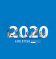 2020 new year people life style walking with flat vector image