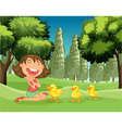 A happy girl and the three ducklings vector image vector image