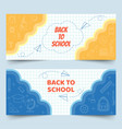 back to school line elements on grid paper banners vector image