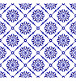 beautiful flower blue and white pattern vector image