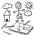 black and white doodles vector image vector image